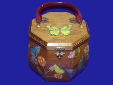 Vintage 1960s Octagonal Wood Wooden Purse Clutch Bag Box Flower Power Butterfy