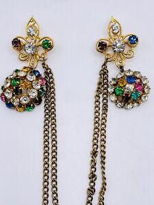 Vintage Glass Rhinestone Fleur De Lis Double Chain Chatelaine Pin Brooch