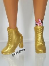New! Bmr1959 Gold Booties Boots Barbie Fashion Shoes Accessory Collector'S Curvy