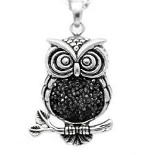 Mid-nighter Owl Necklace Bird Pendant w. Cubic Zirconia Stones Jewelry Controse