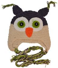 Crochet Owl Beanie Hat (Beige & Navy) - Medium