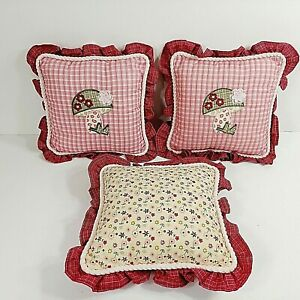 Baby Martex Throw Pillow Set (3) Mushroom Applique Pink Rose Plaid Floral
