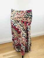Ladies MARKS & SPENCER Skirt Size 14 Floaty Multicoloured Red Brown 33'' Length