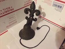 Vintage antique school bell Fluer De Lis cast iron