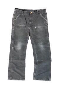 Mens Carhartt B01 Black Duck Canvas Double Knee Distressed Work Pants Fits 36x31
