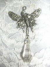 BEAUTIFUL ENGRAVED BUTTERFLY WING FAIRY w CLEAR CRYSTAL DANGLE PENDANT NECKLACE