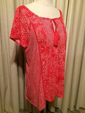 NWOT Lucky Brand Red White Floral Short Sleeve Top Shirt Blouse Tassel Large L