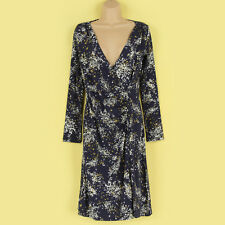 NEW ANNE WEYBURN NAVY & WHITE PRINTED RUCHED FRONT WRAP PARTY DRESS SIZE 8 WOW