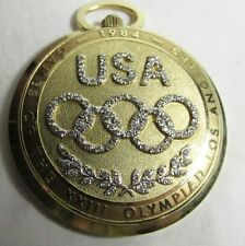 LONGINES 14 k Gold 1984 LA OLYMPIC Limited Edition Pocket Watch with Diamonds