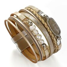 Faux Leather Bracelet Natural Stone Braided Pearl Beads Design Multilayers