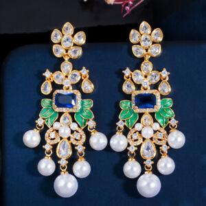 Blue Long Chandelier Earrings CZ 925 Silver Pearl Dangle Drop for Brides Wedding