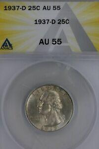 1937-D  .25  ANACS   AU 55  Washington Quarter, Silver 25 Cents (0.25)