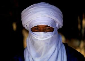Mauritanian African Tuareg Scarf Handmade Ethnic Turban White Color