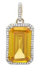 10K Yellow Gold Royal Emerald Cut Topaz 3/4 Inch Diamond Pendant Charm 1/4ct
