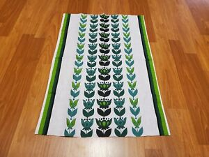 Awesome RARE Vintage Mid Century retro 70s 60s green floral stripe fabric! LOOK