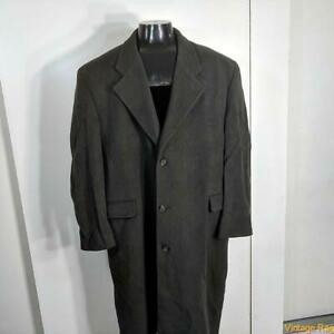 LORD & TAYLOR Long CASHMERE Wool Coat Overcoat Mens Size XL 46 Olive green
