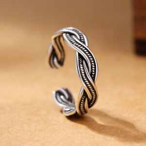 925 Sterling Silver Plated Weave Twist Ring Open Band Thumb Adjustable + Bag UK