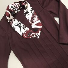Kenny Classics Dress Donnkenny Pleated Neck Tie Long Sleeve Maroon Red Sz 12 Vtg