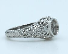 """Platinum Diamond Engagement Ring with 0.32ct  with Hand Engraving """"CLOSE-OUT"""""""