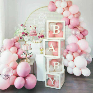 4Pcs Kids Baby Shower Cube Transparent Gift Balloons Boxes Birthday Party Decor