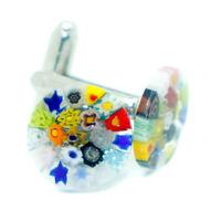 Murano Glass Cufflinks Multi Coloured Circular Patterned with Millefiori
