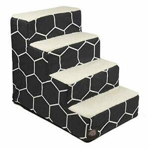 Majestic Pet Black Hexo Shapes Portable Foam 4 Step Pet Stairs   Steps for Do...