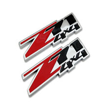 2x Red Z71 4X4 Emblem Off-Road Badge 3D Chrome Metal Sticker Decal For Chevy GMC