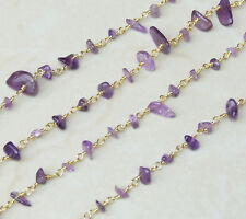 Amethyst Rosary Chain - Gold Plated Wire Wrapped Rosary Chain.  6mm - 12mm Chips