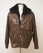 Vintage ANDREW MARC Genuine Leather & Fur Motorcycle Bomber Jacket Women's