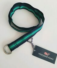 Vineyard Vines Boys Belt Menemsha Stripe D-Ring Green Navy Size Xl Nwt