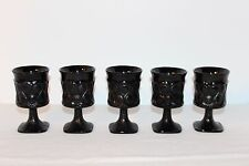 Vintage NORITAKE Spotlight Ebony Black Juice Wine Glasses Goblets Set of 5 EXC!