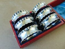 More details for excellent beautiful 6 edwardian sterling silver napkin rings 1904, boxed