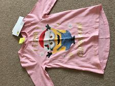 Girls 4-5 Years Pink Long Sleeve Minions Christmas Top, New With Tags