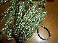 alte weiß grün gold französische Posamentenborte Borte B 1m 14mm L EUR5,50//m