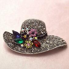 PRETTY LARGE HAT BROOCH - RHINESTONES WITH FLOWERS - FREE UK P&P..........CG0247