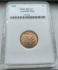1989 MS-67 TONED 1 Cent Canada Penny PNG Graded 1 Cents Canadian