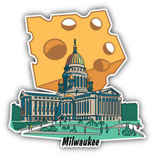 Capitol Building Milwaukee Wisconsin Cheese Car Bumper Sticker Decal 5'' x 5''