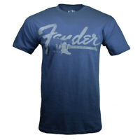 Fender Men's T-shirt Vintage Retro Look Musicians Guitar Rock Graphic Tee, BLUE