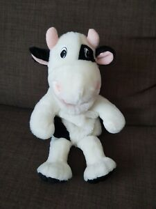 """16"""" BLACK & WHITE COW FARM ANIMAL HAND PUPPET TOY WITH MOO SOUND VGC"""