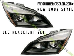 Freightliner Cascadia 2018 2019 2020 New Style Full Led Blackout Headlight SET