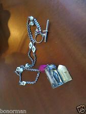 """Antique French """"Notre dame de Paris"""" . silver necklace Shrine relic case"""