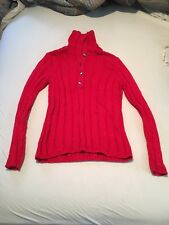 LIZ AND CO Winter Warm Cable Knit Red Button Neck Knit Sweater Size Medium M