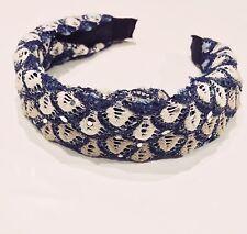 FASHION ACCESSORY - Retro White & Blue Glitter Lace Head Band Ornament Headpiece