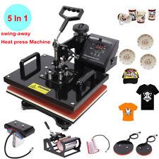 "5 In 1 T-shirt Heat Press Machine 15""x15"" Sublimation Transfer Plate Mug Hat"