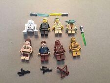 LEGO lot of 8 Star Wars Good Guy Minifigs Yoda Luke Leia Han R2-D2 Chewie I368