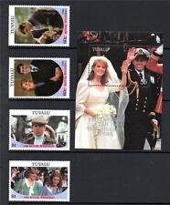 TUVALU MNH 1986 SG397-400 & MS401 ROYAL WEDDING STAMPS & M/S
