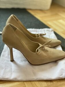 JIMMY CHOO TAN SUEDE TIE UP PUMPS SIZE 37 - BRAND NEW!