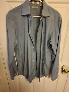 Burberry Brit Oxford Shirt Nova Check Flip Cuffs Stone Grey Size L BEAUTIFUL