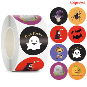 500pcs Halloween Spider Round Stickers Envelope Sealing Labels Candy Bag Stic.bl