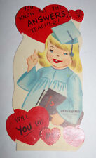 Vtg 1950s Little Girl Graduate Teacher Answers Doubl-Glo Valentine's Day Card
